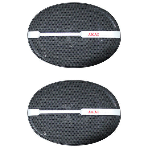 "AKAI AK-SP-6938 Audiophile Cone 6 x 9"" 3-Way Coaxial Speaker 45W Rated/450W Peak"