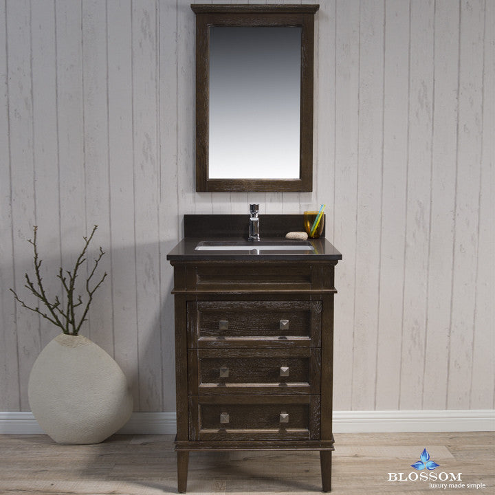 "BLOSSOM 015-24-19-MWQ Bordeaux 24"" Vanity Set w/Mirror Quartz Black Red Oak"