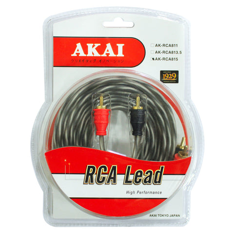 AKAI AK-RCA815 Gold Plated 10 x .12 CU x 2 x 2 RCA Lead Car Audio Cable 4 x 8mm
