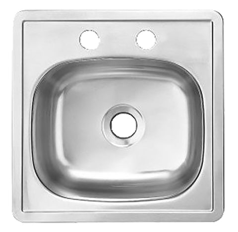 KINDRED S1515/65K/22 Single Bowl Topmount 2-Hole Bar Sink Stainless Steel Silk