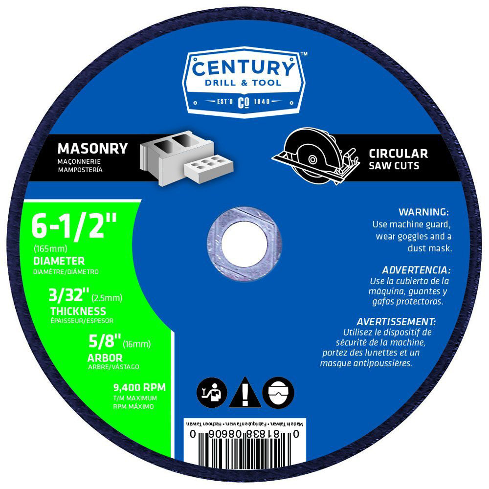 CENTURY TOOL 08606 TYPE 1A/A24R Metal/Steel 6-1/2 Abrasive/Cut-Off Blade 9400RPM