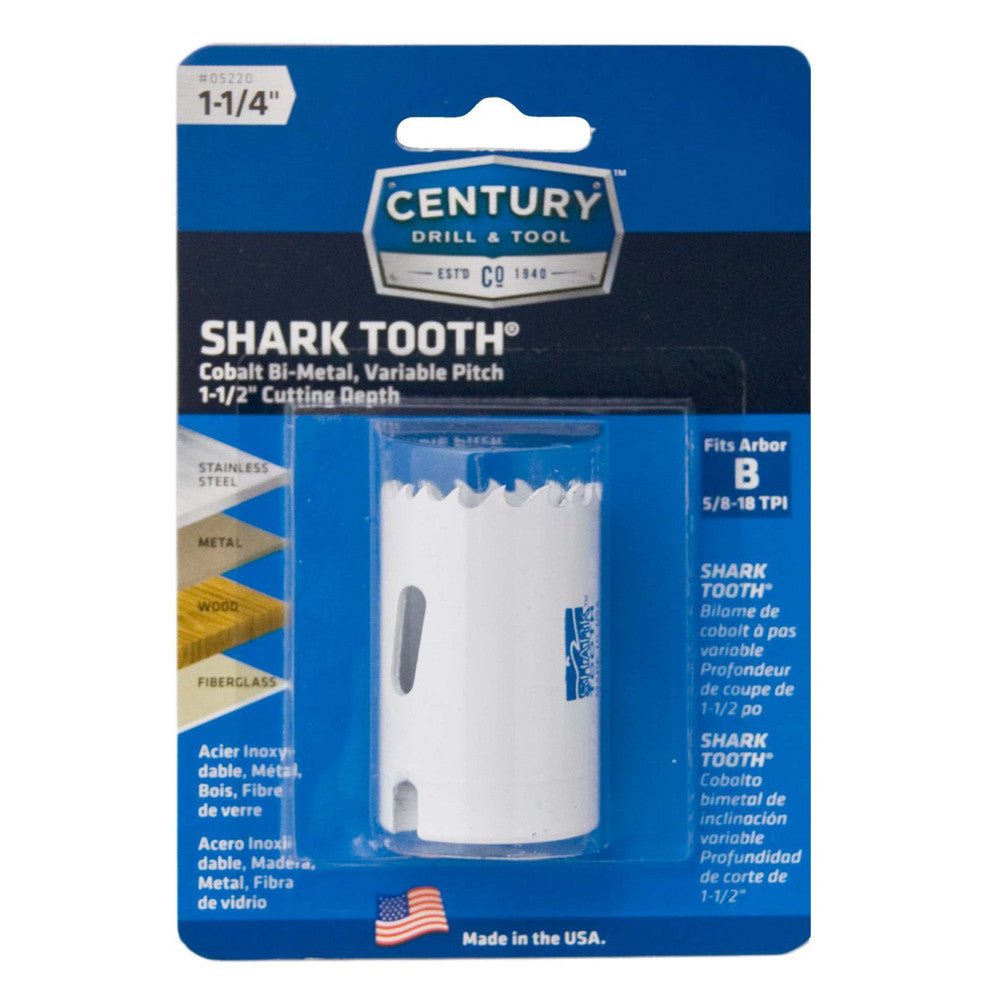 "CENTURY TOOL 05220 Shark Tooth® 1-7/8"" Deep All Purpose Bi-Metal 1-1/4"" Hole Saw"