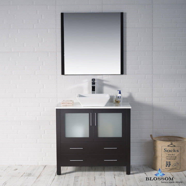 "BLOSSOM 001-36-02-1616V Sydney 36"" Vanity Set with Vessel Sink/Mirror Espresso"
