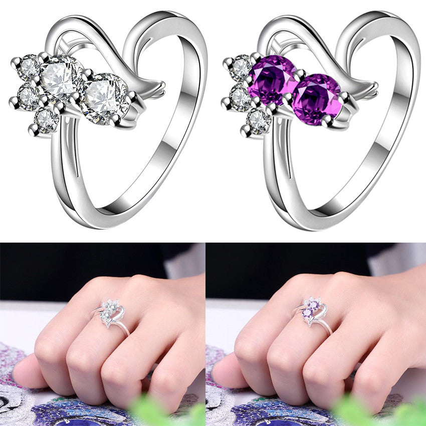 Cute Purple White Crystal Cat Rings For Women - Black Paw Store