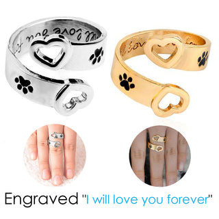 "Engraved ""I will love you forever"" Paw Ring for Cats and Pets Lovers - Black Paw Store"