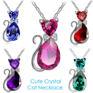Crystal Cat Necklace for Women and Girls - Black Paw Store