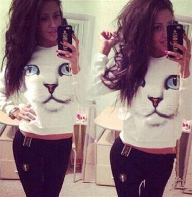 Women's Cat Sweatshirt - Black Paw Store