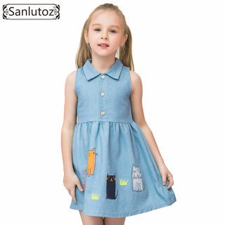 Lovely Denim Summer Cat Dresses - Black Paw Store
