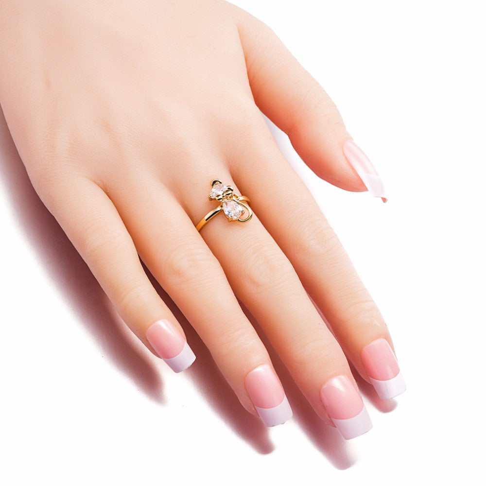 Super Cute Crystal  Gold Cat Ring For Women and Girls - Black Paw Store