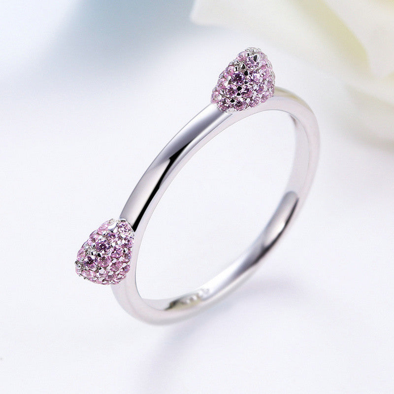 Super Cute Real 100% 925 Sterling Silver Pink Cat Ears Ring for Women and Girls - Black Paw Store