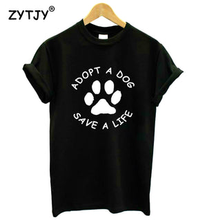 Adopt A Dog Paw Save A Life Print WomensTshirt - Black Paw Store