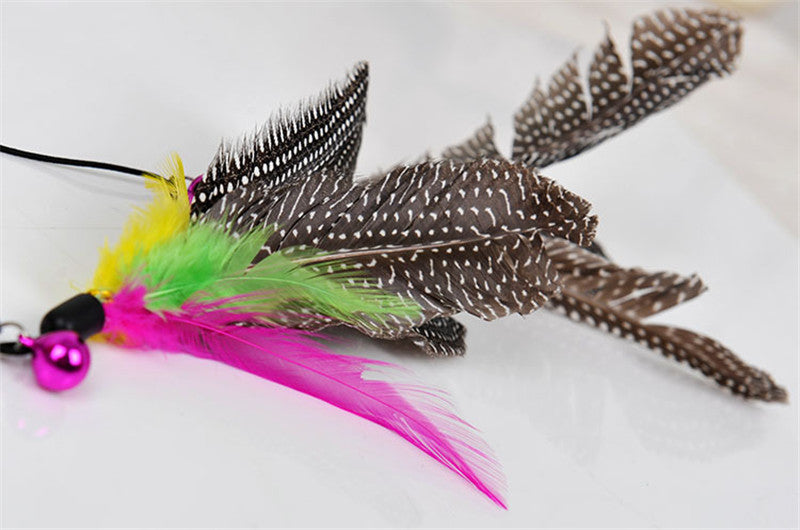 Colorful Cat Toy Bird Feather Teaser Wand