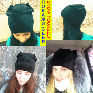 Women's Cat Ears Beanie - Black Paw Store