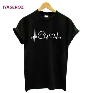 Cat/dog Paw Heartbeat unisex tshirt