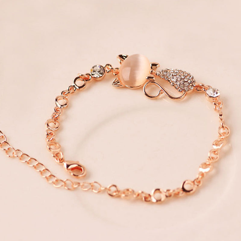 Beautiful Cat Crystal Rhinestone Bracelet - Black Paw Store