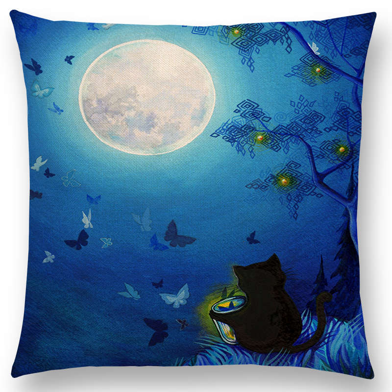 Hot Sale Cute Cat Magical Moon Cushion Cover - Black Paw Store