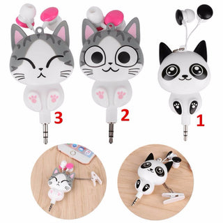 Cute Cat Cartoon Earphones - Black Paw Store