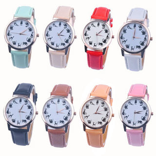 Lovely Cat Leather Sport Quartz Wrist Watches - Black Paw Store