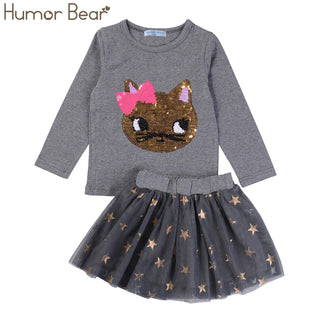 Baby Girl Casual  Long Sleeve+Stars Skirt  2PCS - Black Paw Store