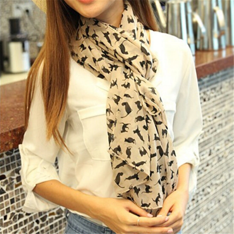 Women's Chiffon Cat Scarf - Black Paw Store