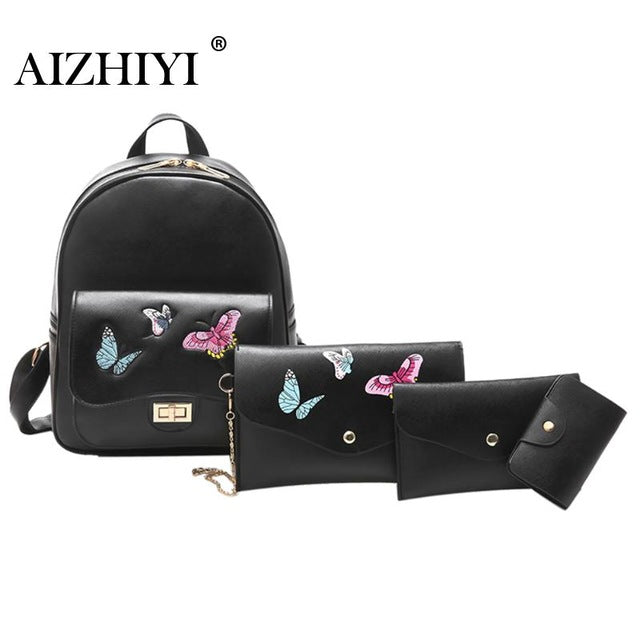 Lovely PU Leather Backpack set 4pcs - Black Paw Store