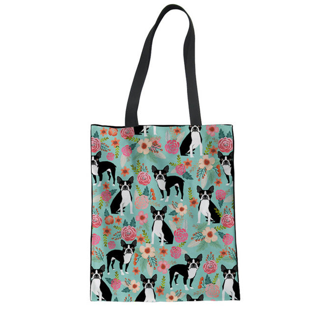 Boxer Dog Print Foldable Shopping Bags - Black Paw Store