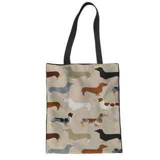 Dachshund Dog Print Foldable Shopping Bag - Black Paw Store