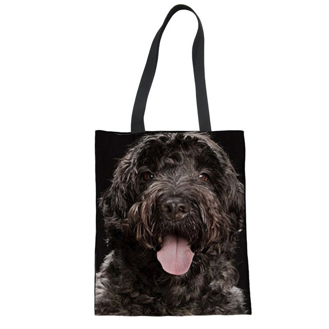Dog Printed Canvas Shopping Bag - Black Paw Store