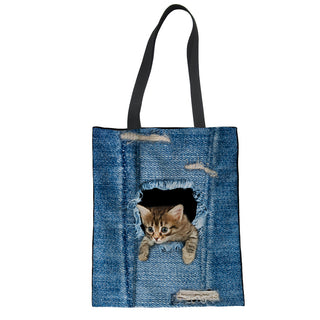 Classic Denim Jeans Cat Print Shopping Bag - Black Paw Store