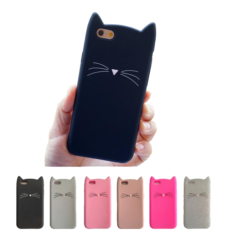 iPhone 7 Cat Ears Silicon Phone Case - Black Paw Store