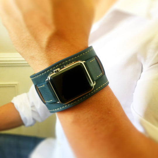 Navy Blue Hand-stitched Apple Watch Leather Cuff
