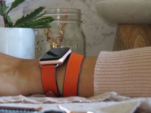 Textured Leather Orange Double Wrap Apple Watch Band