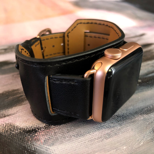 Black Apple Watch Leather Cuff