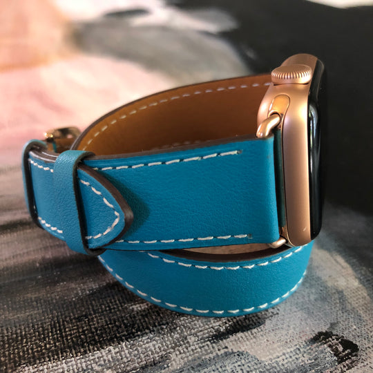 Cyan Blue Double Wrap Apple Watch Band