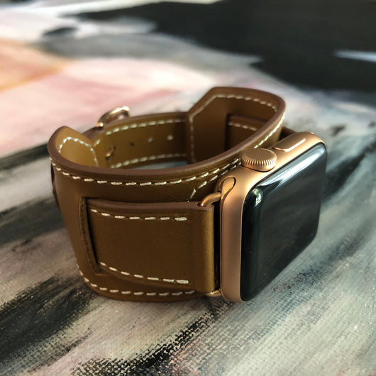Caramel Brown Apple Watch Leather Cuff