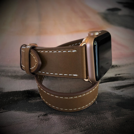 Caramel Brown Double Wrap Apple Watch Band
