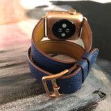 Textured Leather Space Blue Double Wrap Apple Watch Band