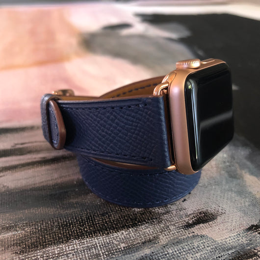0bef5278b Handmade, stylish leather; Space Blue Double Wrap Apple Watch Leather Band  by Juxli Home.