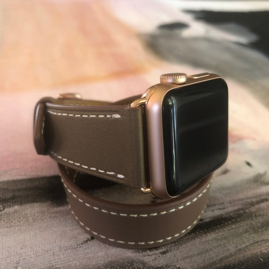 Hazel Brown Double Wrap Apple Watch Band