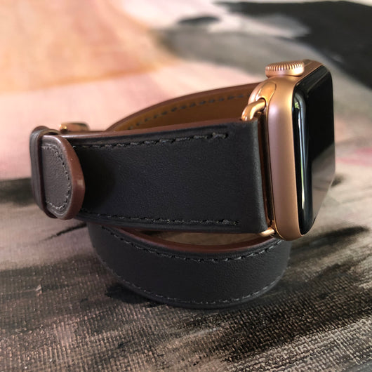 f023d6316 Charcoal Gray Double Wrap Apple Watch Band by Juxli Home. Handmade, stylish  leather strap ...
