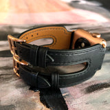 Black Double Buckle Apple Watch Leather Cuff