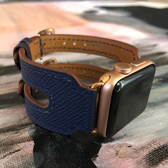 Space Blue Apple Watch Double Buckle Leather Cuff