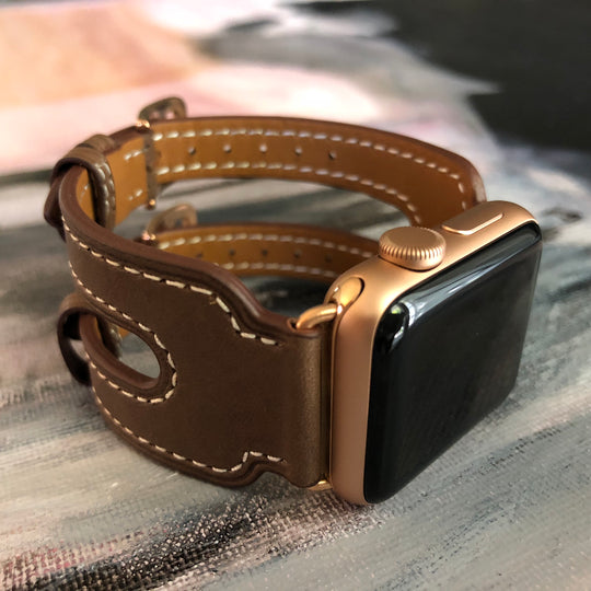 Chocolate Brown Double Buckle Apple Watch Leather Cuff