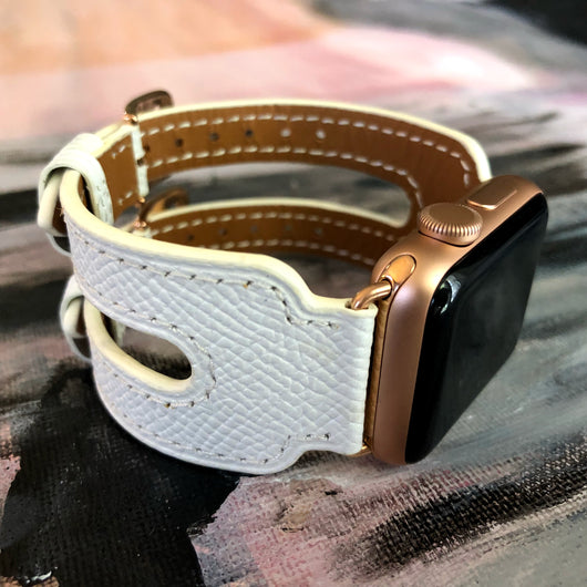 White Apple Watch Double Buckle Leather Cuff