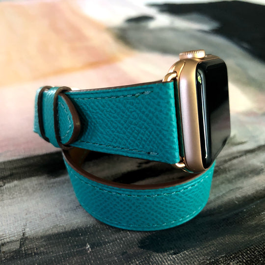 Textured Leather Sea Green Double Wrap Apple Watch Band