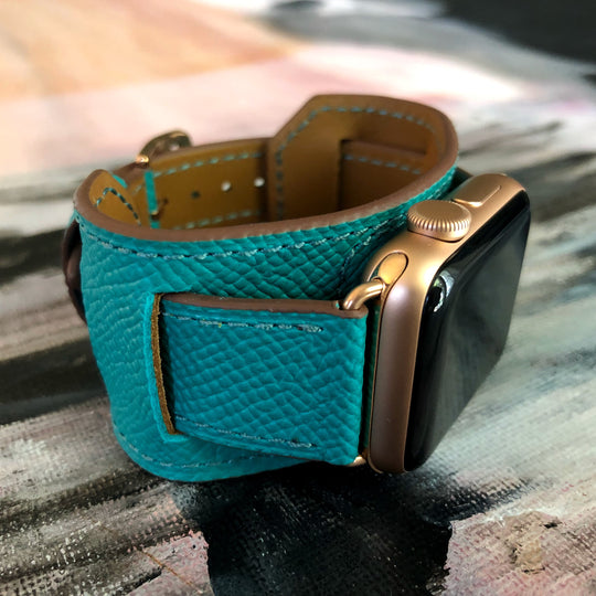 Sea Green Apple Watch Leather Cuff