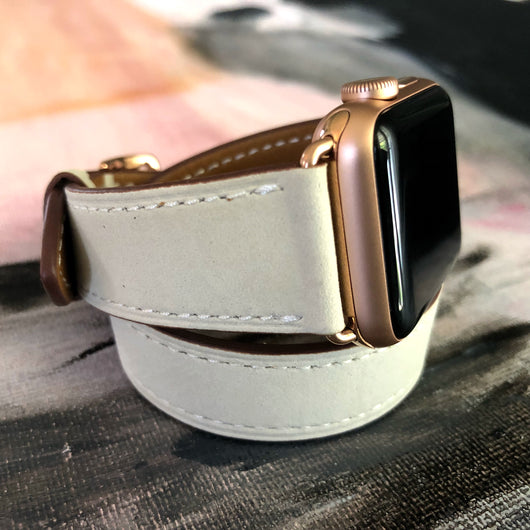 739eea21a Handmade, stylish leather; Women's Ivory Double Wrap Apple Watch Leather  Band by Juxli Home.