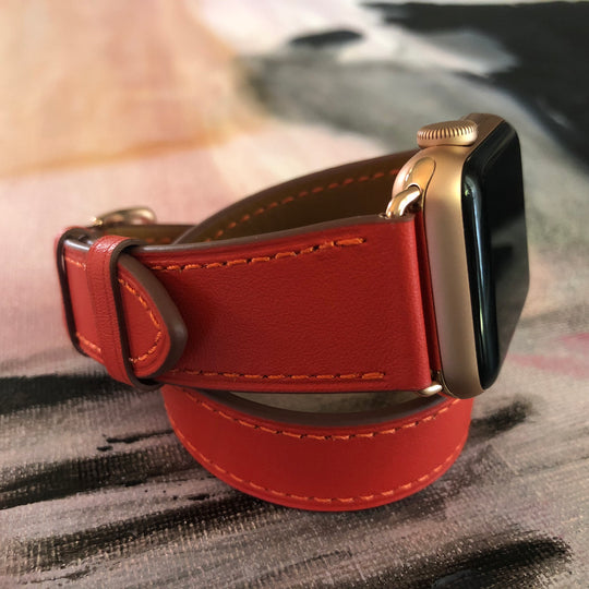 Fire Red Double Wrap Apple Watch Band