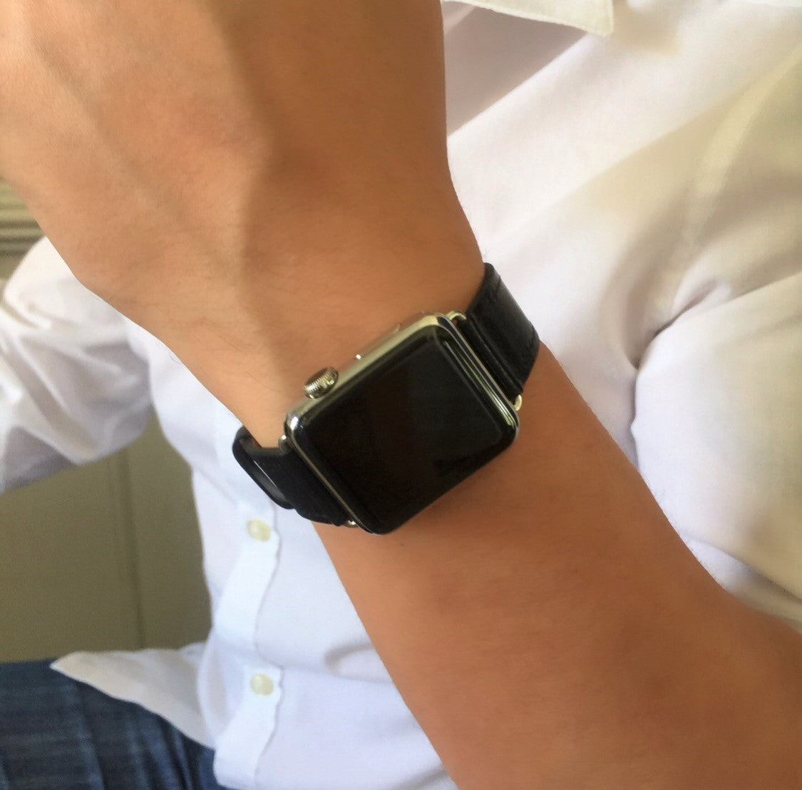 Juxli Home Black  Apple Watch Leather Replacement Single Tour Band worn by man with White Shirt