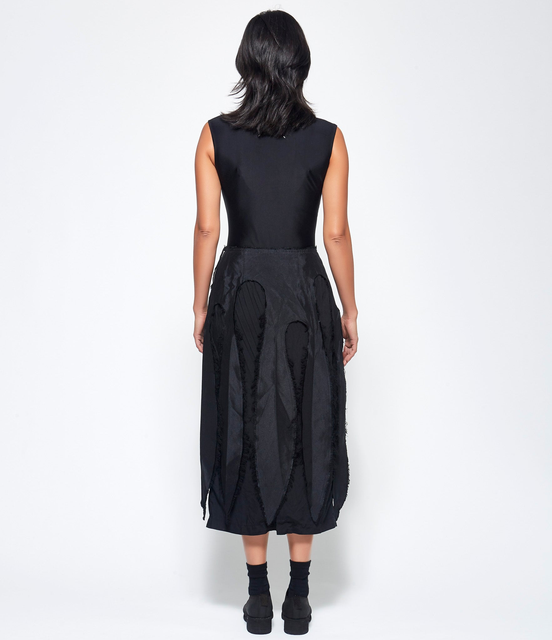 Comme Des Garcons Garment Treated Polyester Satin x Polyester Spun Broad Skirt